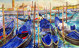 Venedig blau 2. 70 x100 holz gerahmt, 56x75, venedig blauUNSCHARF klein