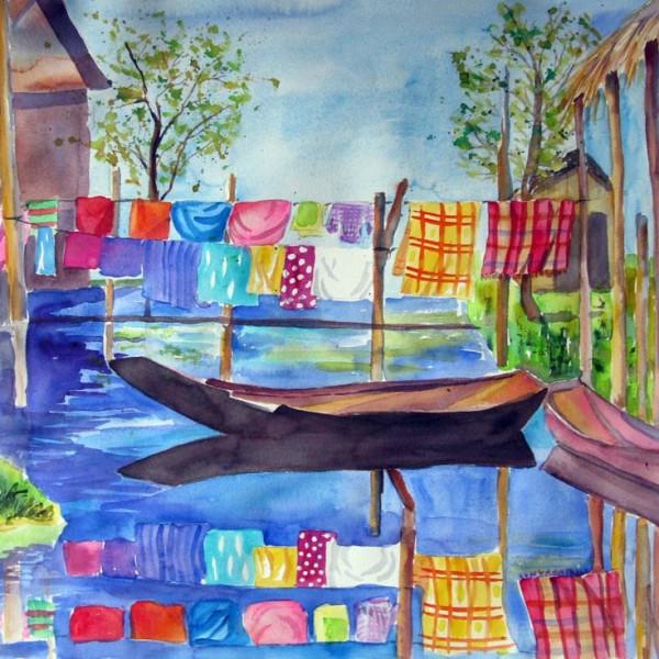 Wäsche am Fluss shop
