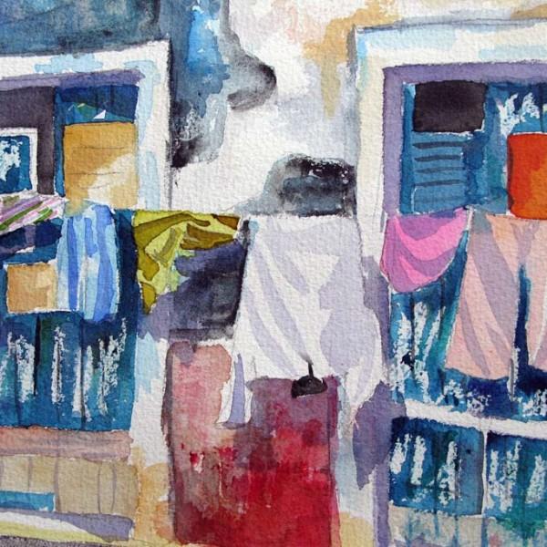 Wäsche auf petrol shop