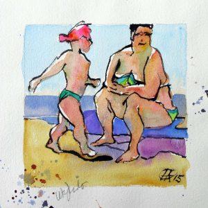 große Strandszenen 1 shop Mutter mit Kind